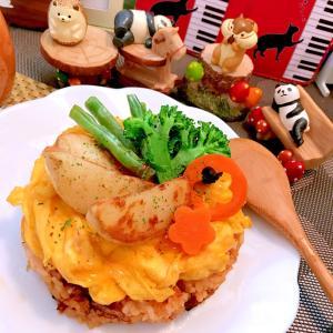 彩り野菜とトロトロ卵のケーキオムライス