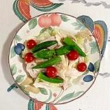 サラダチキン、オクラ、ミニトマトのサラダ