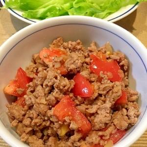 豚ひき肉とトマトのエスニックレタス包み
