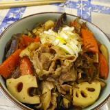 昆布豚蓮根の麺つゆ炒め煮