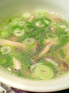 ネギたっぷり!ネギとぶなしめじの中華スープ♪