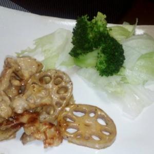 レンコンと鶏肉のマヨネーズ炒め