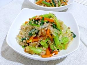 小松菜とひき肉と春雨のザーサイ炒め