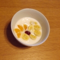 美的 バナナと蜜柑と苺ジャムのヨーグルト