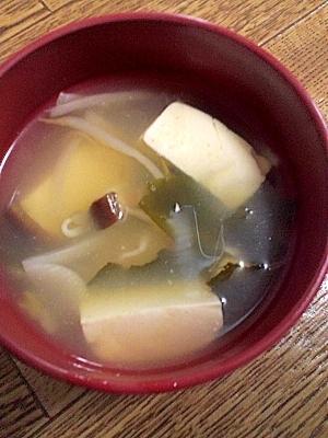節約♪豆腐&もやし&たまねぎのみそ汁
