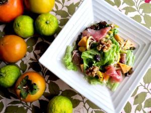 柿と柚子の生ハムサラダ