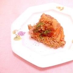 蕎麦粉でヘルシー♪白菜と豚小間のお好み焼き