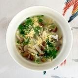 しめじと豆苗の卵スープ