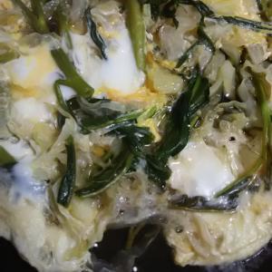キャベツと空芯菜の卵とじ(^^)