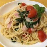 【簡単】生バジルとトマトのパスタ