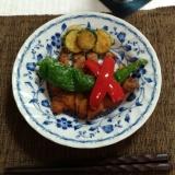 トンカツと万願寺、夏野菜プレート
