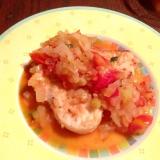 トマトと玉ねぎのソースがけカジキのソテー