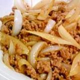 玉ねぎと豚のひき肉の炒め物