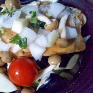鯖味噌煮と生玉ねぎのサラダ