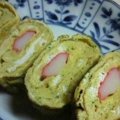 お弁当に☆カニかま入り青海苔の卵焼き