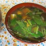 シジミ出汁で豆腐と三つ葉の味噌汁