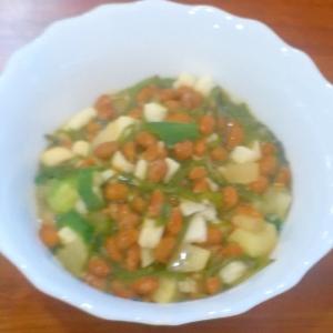 漬物を使ってちょっぴり豪華な納豆ご飯