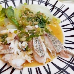 レンジでチン!(^^)白菜と白身魚の薬味ソースがけ