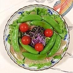 リーフレタス 、スナップえんどう、生ハムのサラダ