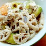 男の手料理風❤レンコンと芽キャベツの味噌汁♪(卵)