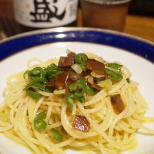【高知食材】鮭の酒びたしとしし唐のペペロンチーノ
