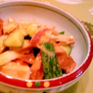 ちくわ・きゅうり・茗荷の野菜麹ディップ和え