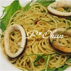 イカと水菜のペペロンチーノ風パスタ