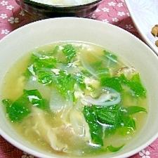 レタスと鶏肉のねぎ塩スープ