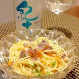 ワインに日本酒に、鰯の冷製パスタ、ラビゴット風