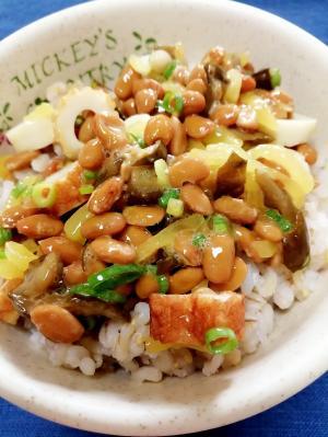 納豆の食べ方-たくあん&ちくわ♪