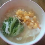 コーンと白菜の甘い拉麺