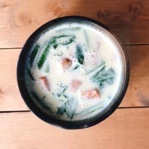 朝のウインナー豆乳スープ