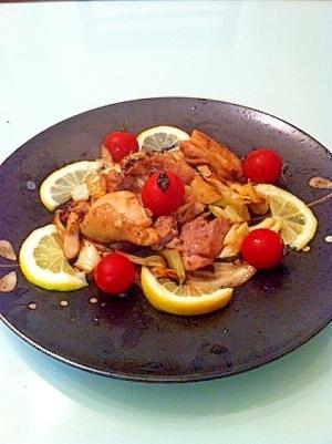 健康レシピ塩麹と鶏もも肉レモン添え