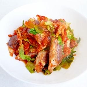 ロメインレタスと鯖のトマト煮