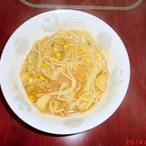 残ったみそ汁で☆和風ピリ辛スープパスタ