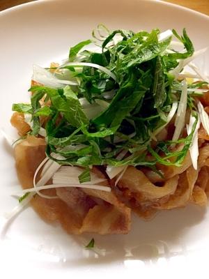 豚バラ肉の香味野菜のせ