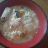 里芋のお味噌汁残りで味噌卵粥