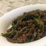 小松菜とひき肉の炒め物