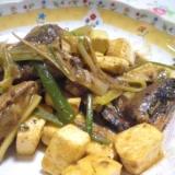 焼き豆腐とねぎと鰯缶の生姜炒め