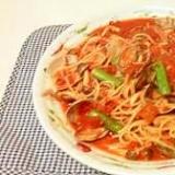 アサリとアスパラガスのトマトスパゲティ