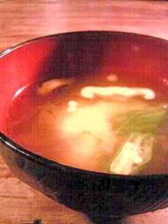 オクラとシイタケのミソスープ