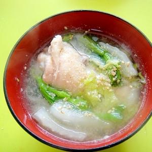 鶏手羽元と白菜菜の花の味噌汁