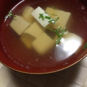 生姜入り、豆腐のすまし汁