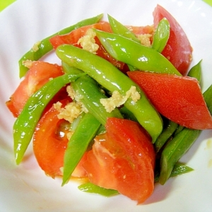 いんげんとトマトの麺つゆ生姜和え