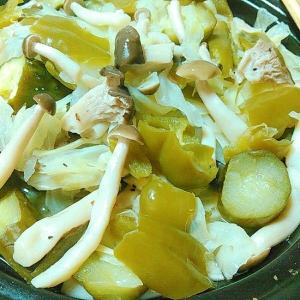 エリンギしめじキャベツきゅうりピーマンの温サラダ