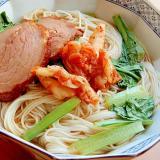温かいうどん❤そうめんで♪(焼き豚&キムチほか)