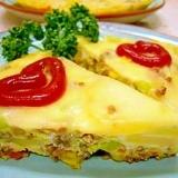 チーズをトッピングしたスパニッシュオムレツ