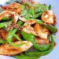 大和野菜・ひもとうがらしの白菜キムチ炒め*