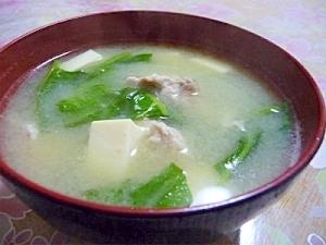 空芯菜の葉と豆腐の味噌汁