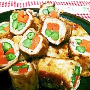 いんげんと人参の豚巻きの生姜焼き